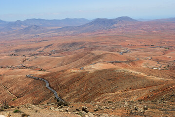 Mountainous landscape from the center of the Canary Island Spanish Fuerteventura