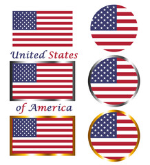 United States of America flags. Flat design and silver and golden frames.