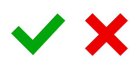 Checkmark and cross vector icon. Tick , cross flat symbol on white backround.