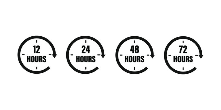 12, 24, 48 and 72 hours clock arrow. Vector icon on white background .  Working time . Black clock . 10 eps