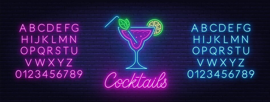 Cocktail neon sign on brick wall background. Blue and pink neon alphabets.