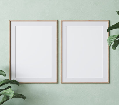 two vertical wooden frame mockup on green wall background with plants, 3d illustration