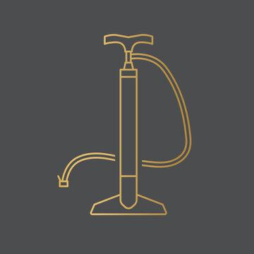 golden air bike manual pump icon- vector illustration
