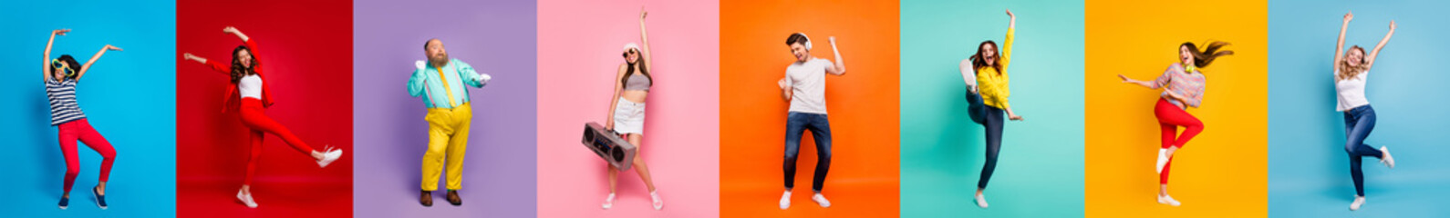 Photo Blinds Dance School Panorama collage eight cool funny attractive active modern people six ladies two guys men good mood dance discotheque party isolated many colors blue violet teal orange yellow pink red background