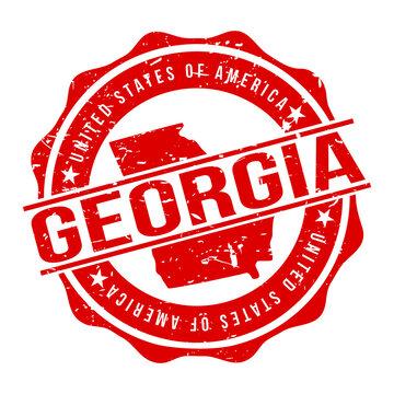 Georgia America Original Stamp Design Vector Art Tourism Souvenir Round.