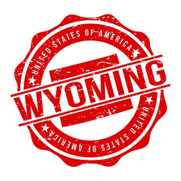 Wyoming America Original Stamp Design Vector Art Tourism Souvenir Round.