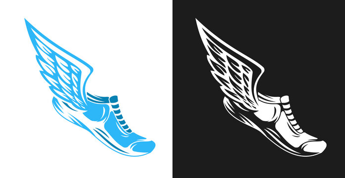 Hand drawn color silhouette running shoes with wings isolated on white background. Stylized vector illustration. Minimalistic vintage design template element for print, label, badge or other symbol.