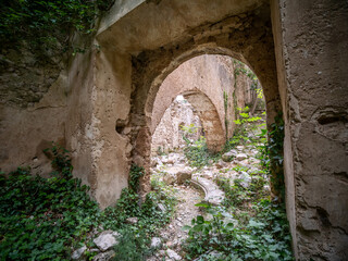 Ghost town of Rocchetta Alta and his remains. Starting with the 1960s, the village was abandoned due to war damage (world war II) and difficult living conditions. Rocchetta al Volturno, Isernia, Italy