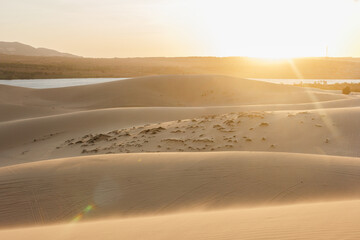 Sunset over desert with sand dunes In Vietnam