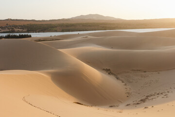Mui ne in Vietnam sand dunes during sunset