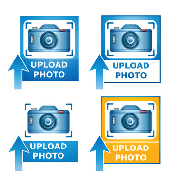 Upload your photo image icon set. Blue camera picture on photography with loading arrow. Concept add file to website gallery, uploading photograph on cloud server, download snapshot. Vector on white
