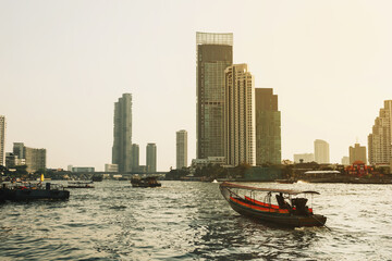 Sunset view on river in Bangkok