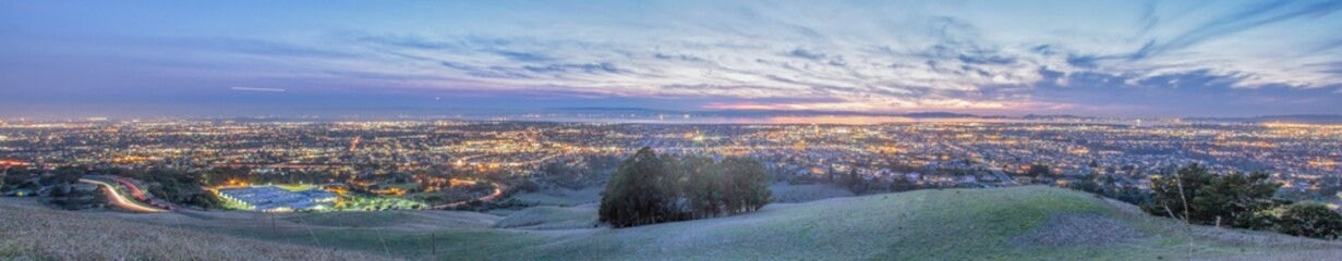 Panorama of San Francisco Bay Area in the Evening
