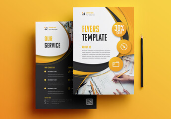 Business Flyer Layout with Yellow and Black Accents