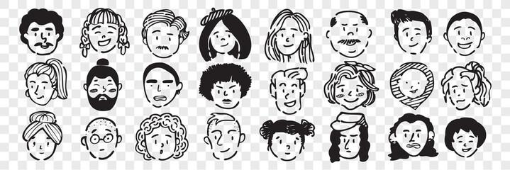 Hand drawn human faces doodle set.