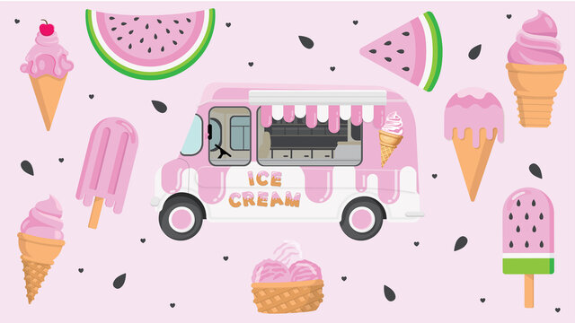 Ice Cream Truck with Watermelon and scoops of summertime ice cream cones