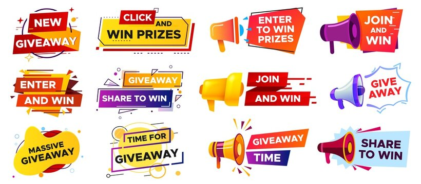 Giveaway banner with megaphone. Loudspeaker announcement of competition. Winning prizes in contest, giving gifts. Share to win post in social media. Marketing and advertising vector illustration