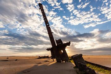 vestiges of an old stranded ship