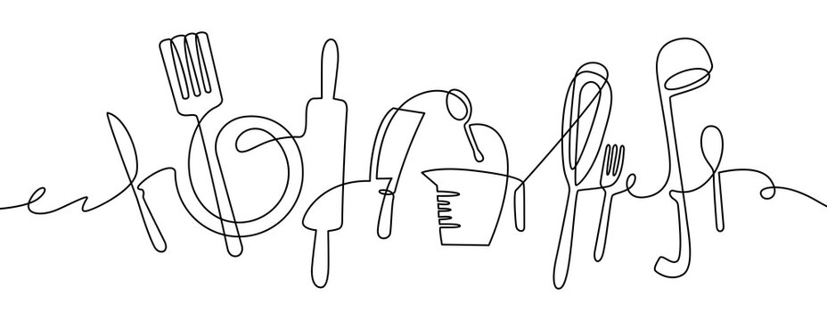 Kitchen tools. Continuous one line drawing kitchen utensils, cooking tool illustration, black and white outline cutlery sketch vector design. Fork and knife, rolling pin and whisk, ladle