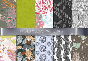Blue Scribbles Hand Drawn Seamless Pattern Collection