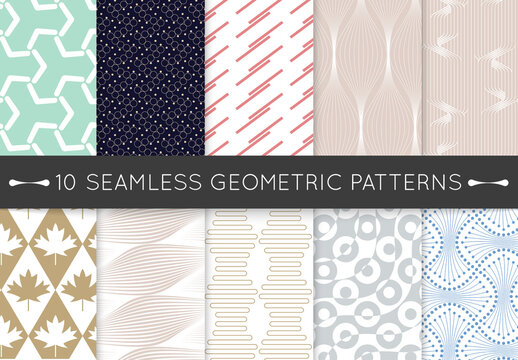 Pastel Colored Simple Geometric Seamless Pattern Collection