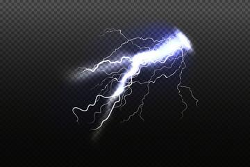 Sparkling lightning on black background Magic and bright lighting effects.Vector illustration.