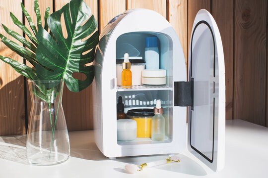 Mini fridge for keeping skincare, makeup and beauty product cool and fresh. Extend shelf live of creams, serums. Keep your beauty products organised and cool. Sunny day and summer vibes.