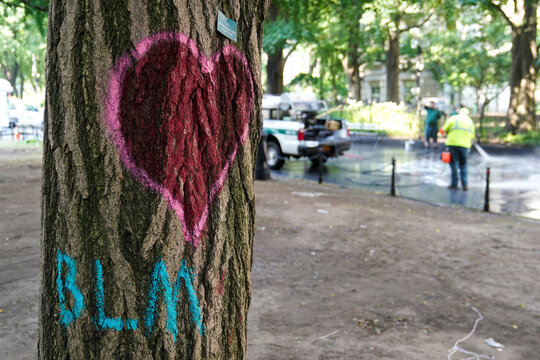 """A heart and a BLM sign are spray painted on a tree as workers use pressure washers to remove graffiti after police dismantled the """"City Hall Autonomous Zone"""" that was in support of the Black Lives Matter movement in the Manhattan borough of New York City"""