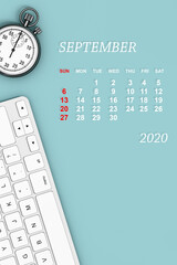 2020 year calendar. September calendar. 3d Rendering