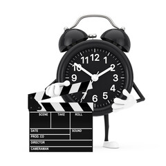 Alarm Clock Character Mascot with Novie Clapper Board. 3d Rendering
