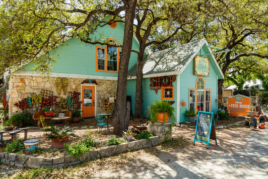 Retail Shops in the small town of Wimberley, Texas in the Hill Country