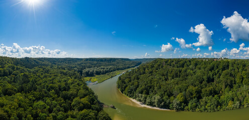 Beautiful day in nature, view at the Isar river in bavaria as a drone shot.