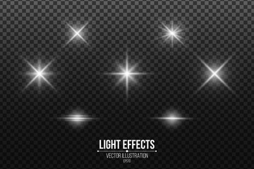 Wall Mural - Set of shining stars. Light effects isolated on a black transparent background. White glares and flare. Vector illustration