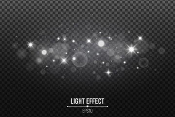 Wall Mural - Stylish light effect isolated on a dark transparent background. Shining stars. Silver glitters and glowing spots. Vector illustration