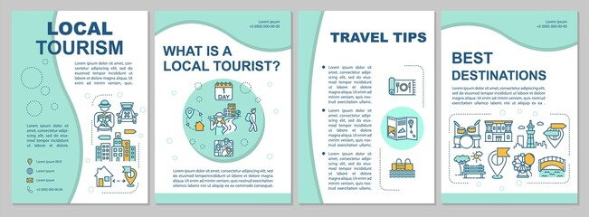 Local tourism brochure template. Sightseeing and ecotourism. Flyer, booklet, leaflet print, cover design with linear icons. Vector layouts for magazines, annual reports, advertising posters