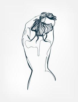 body girl figure line one art isolated vector illustration