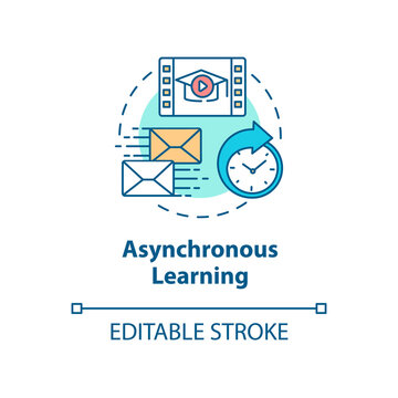 Asynchronous learning concept icon. Location independent studies. Distance and correspondence education idea thin line illustration. Vector isolated outline RGB color drawing. Editable stroke