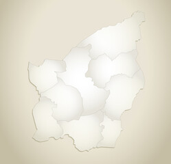 San Marino map, administrative division, old paper background blank