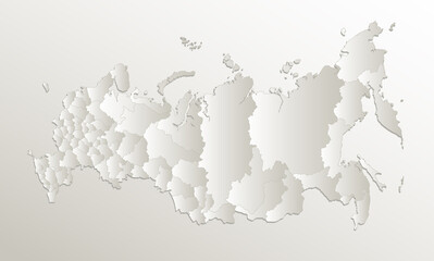 Russia map administrative division, separates regions, card paper 3D natural blank