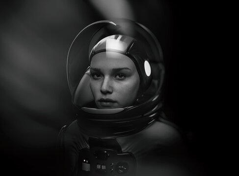 woman astronaut with glass helmet and dramatic lighting - 3d rendering
