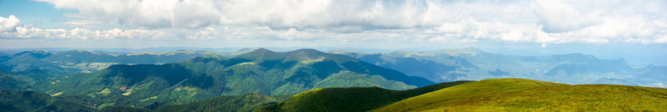 mountain panorama on a summer day. hills rolling from the valley up in to the distance. view of the carpathian watershed ridge beneath a sky with clouds