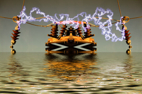 Powerful electric device, made of electricity pylon parts and installed in water, short circuit (blue sparks) in between isolated poles, creative work on science fiction theme, 3D illustration