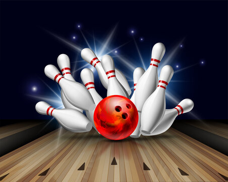 Red Bowling Ball crashing into the pins on bowling alley line. Illustration of bowling strike