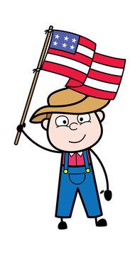 Cartoon Farmer holding Flag of USA