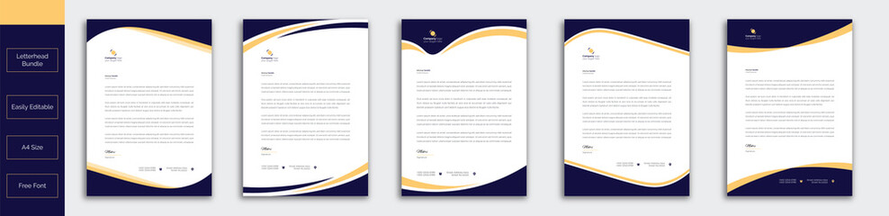 Modern Creative & Clean business style letterhead bundle of your corporate project design.set to print with vector & illustration. corporate letterhead bundle.