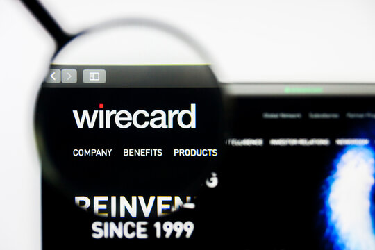 Los Angeles, California, USA - 8 April 2019: Illustrative Editorial of Wirecard website homepage. Wirecard logo visible on display screen.