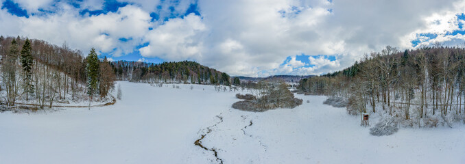 Wonderful winter day with a snow covered meadow and a little creek in the centre, next to a high stand and trees.