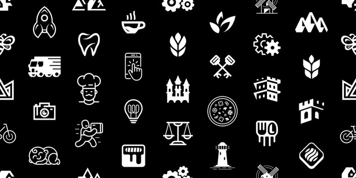 Seamless pattern with Logos. Abstract logos set. Icon design. Template elements