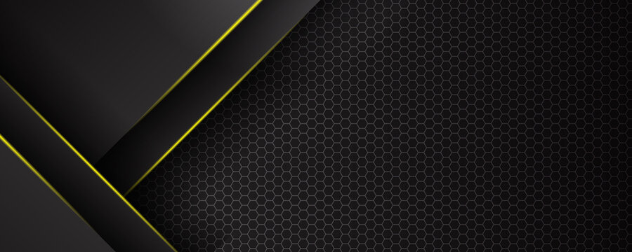 Futuristic perforated technology abstract background with yellow neon glowing lines. Vector banner design
