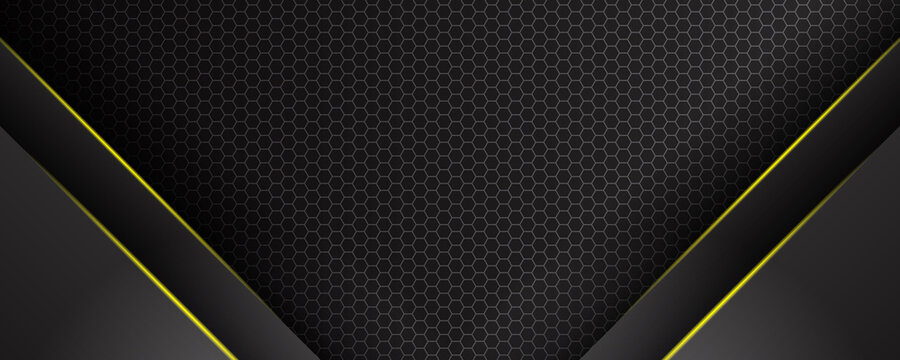 Black and yellow metal background for wide banner with shiny yellow lights
